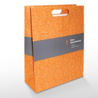 пакеты с ламинацией, бумажный пакет, вырубная ручка на бумажном пакете, офсетная печать на картоне, ламинированный пакет, пакет с ламинацией из картона, матовая ламинация на бумажном пакете