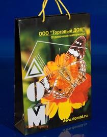 бумажный пакет с глянцевой ламинацией,офсетная печать логотипа,мелованная бумага