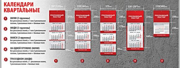 квартальные календари,размеры изготовления квартальных календарей