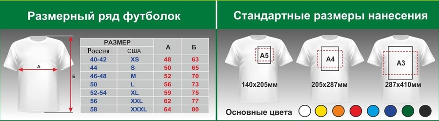 нанесение логотипа на футболки,шелкография на футболках,размерный ряд на футболках